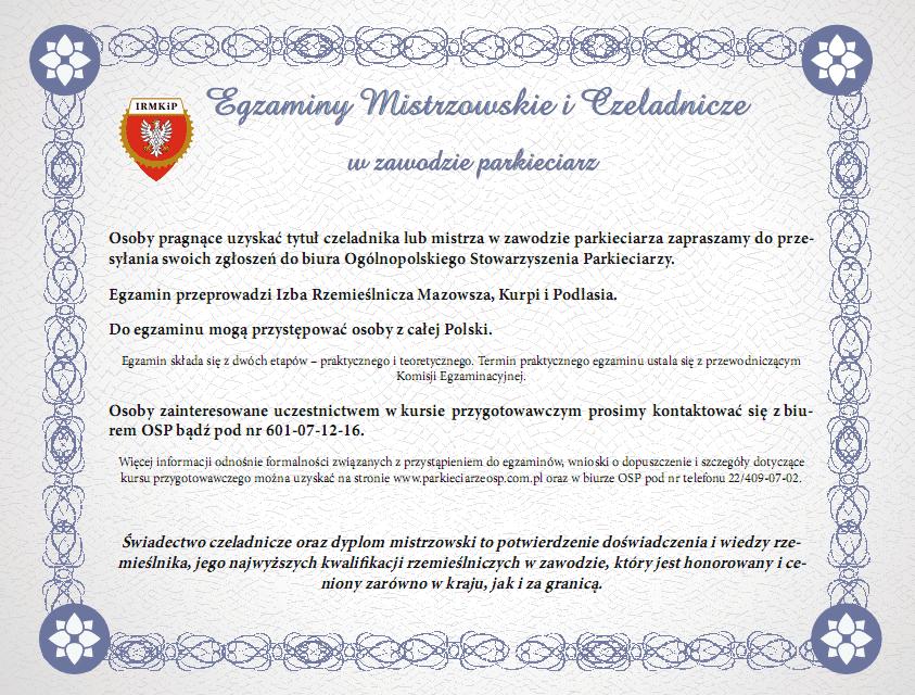 egzaminy mistrzowskie i czeladnicze
